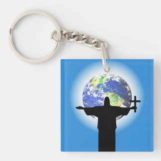 Silhouette with a cross Double-Sided square acrylic key ring