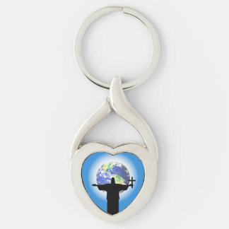 Silhouette with a cross Silver-Colored twisted heart key ring