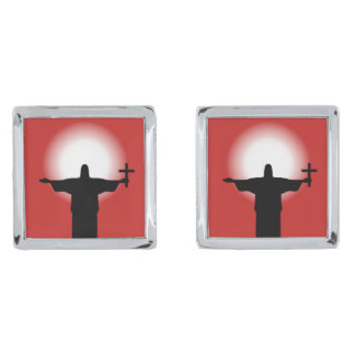 Silhouette with a cross silver finish cuff links