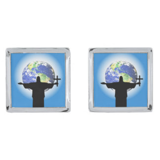 Silhouette with a cross silver finish cufflinks