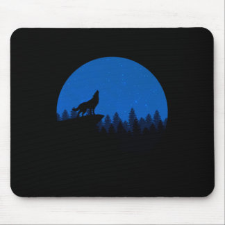 Silhouette wolf - wolf illustration - wolf art mouse pad