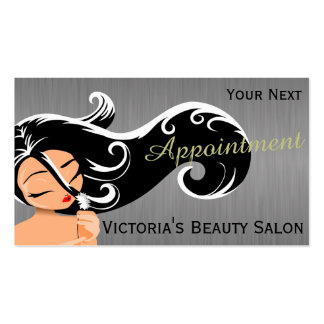 Silhouette Woman Hair Stylist Appointment Business Cards