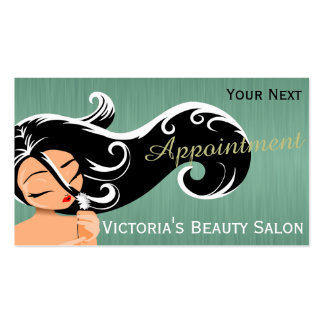 Silhouette Woman Hair Stylist Appointment Double-Sided Standard Business Cards (Pack Of 100)