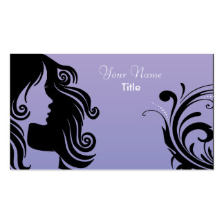 Silhouette Woman Hair Stylist Business Card Templates