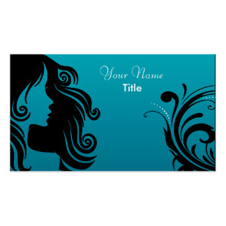 Silhouette Woman Hair Stylist Business Card