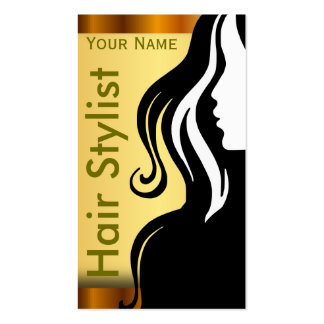 Silhouette Woman Hair Stylist Business Card Templates