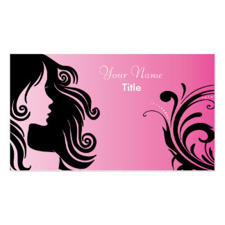 Silhouette Woman Hair Stylist Business Card Template
