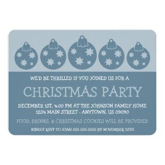 Silhouette Xmas Ornaments Invitations (Blue Gray)