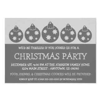 Silhouette Xmas Ornaments Invitations (Gray)