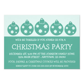 Silhouette Xmas Ornaments Invitations (Teal)