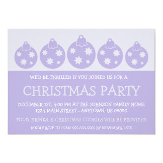 Silhouette Xmas Ornaments Invitations (Violet)