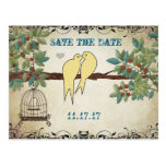 Silhouette Yellow Birds Bird Cage Save the Date