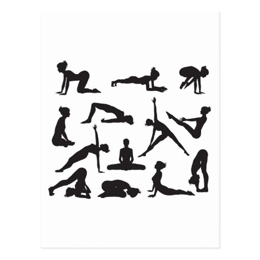 Silhouette Yoga poses Post Card