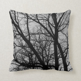 Silhouetted Branches - Black and White Throw Cushion