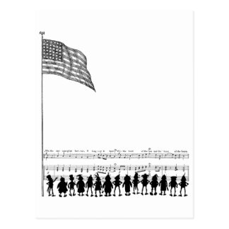 Silhouetted Brownie Patriots and Flag Postcard