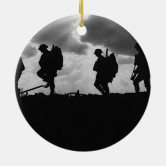 Silhouetted Marching World War I Soldiers (1917) Ceramic Ornament