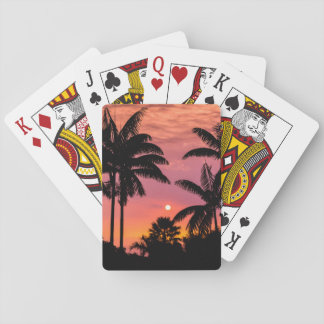 Silhouetted palm trees, Hawaii Poker Deck