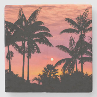 Silhouetted palm trees, Hawaii Stone Coaster