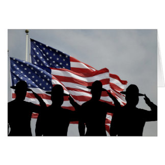 Silhouetted saluting sergeants card