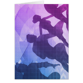 Silhouettes of Business People with Teamwork Card