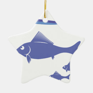 Silhouettes of Fish Ceramic Ornament