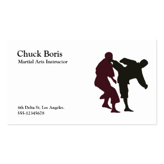 Silhouettes of Martial Artists During a Fight Pack Of Standard Business Cards
