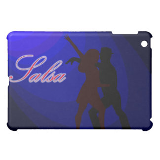 Silhouettes of Salsa dancers with blue background iPad Mini Cover