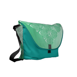 Silk Brocade Messenger Bag in Carribean Water