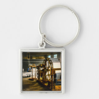 Silk Mill of Old Japan Making Kimonos Vintage Silver-Colored Square Key Ring