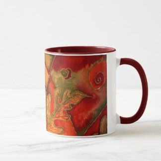 Silk painted Acorn Oak Leaf Mug by Cyn Mc