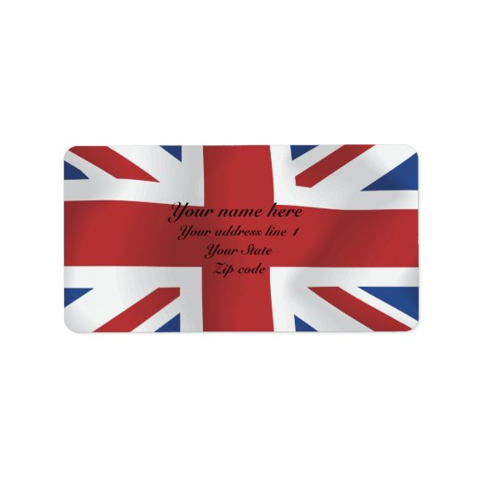 Silk style Union Jack British Flag Address Label