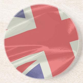 Silk Union Jack Flag Closeup Coaster