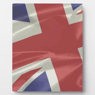 Silk Union Jack Flag Closeup Photo Plaque
