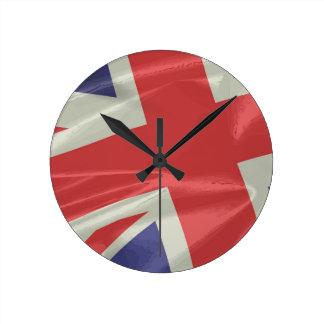 Silk Union Jack Flag Closeup Round Clock