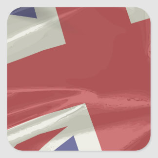 Silk Union Jack Flag Closeup Square Sticker