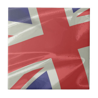 Silk Union Jack Flag Closeup Tile