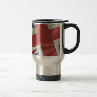 Silk Union Jack Flag Closeup Travel Mug