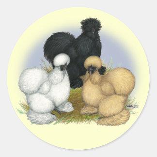 Silkie Trio Round Stickers