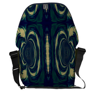 Silky Abstract - Dark Blue, Beige, and Green Courier Bags