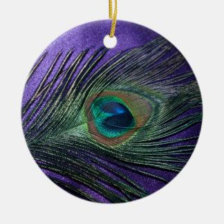 Silky Purple Peacock Feather Ceramic Ornament
