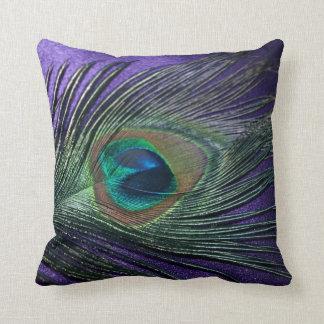 Silky Purple Peacock Feather Still Life Throw Cushion