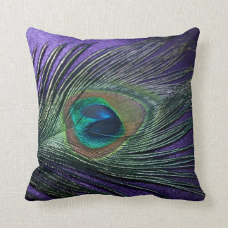 Silky Purple Peacock Feather Still Life Throw Pillow