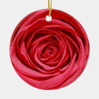 Silky Red Rose Round Petal Romantic Flowers Floral Round Ceramic Decoration
