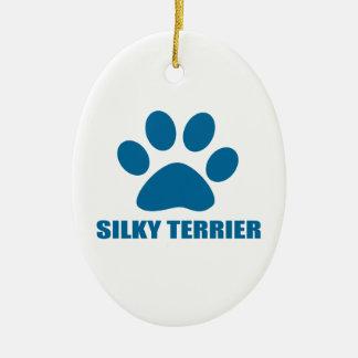 SILKY TERRIER DOG DESIGNS CERAMIC ORNAMENT