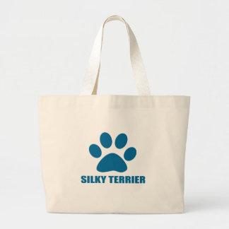 SILKY TERRIER DOG DESIGNS LARGE TOTE BAG