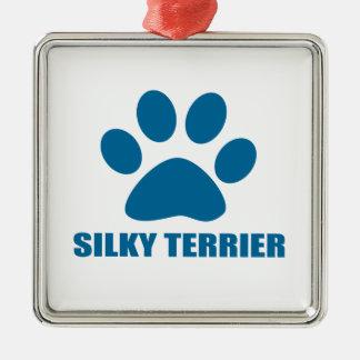 SILKY TERRIER DOG DESIGNS METAL ORNAMENT