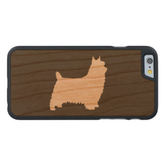 Silky Terrier Silhouette Carved Cherry iPhone 6 Case