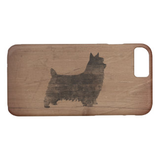 Silky Terrier Silhouette Rustic iPhone 8/7 Case