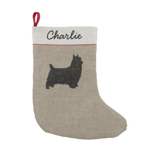 Silky Terrier Silhouette with Custom Text Small Christmas Stocking