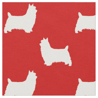 Silky Terrier Silhouettes Pattern Fabric